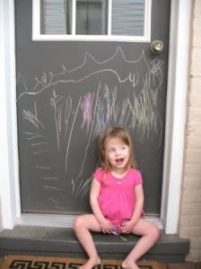 Grace colored on our door with sidewalk chalk.