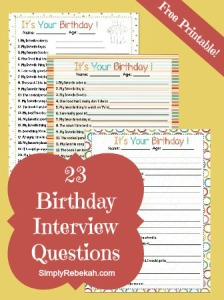 Birthday Interview Questions {free printable}