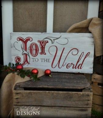 Hand Painted Joy to the World Sign