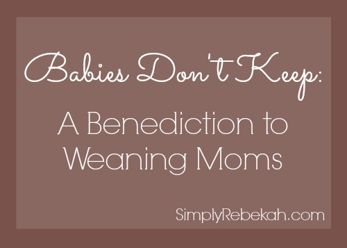 Babies Don't Keep A Benediction to Weaning Moms - If you are sad about weaning from breastfeeding, this post is for you!