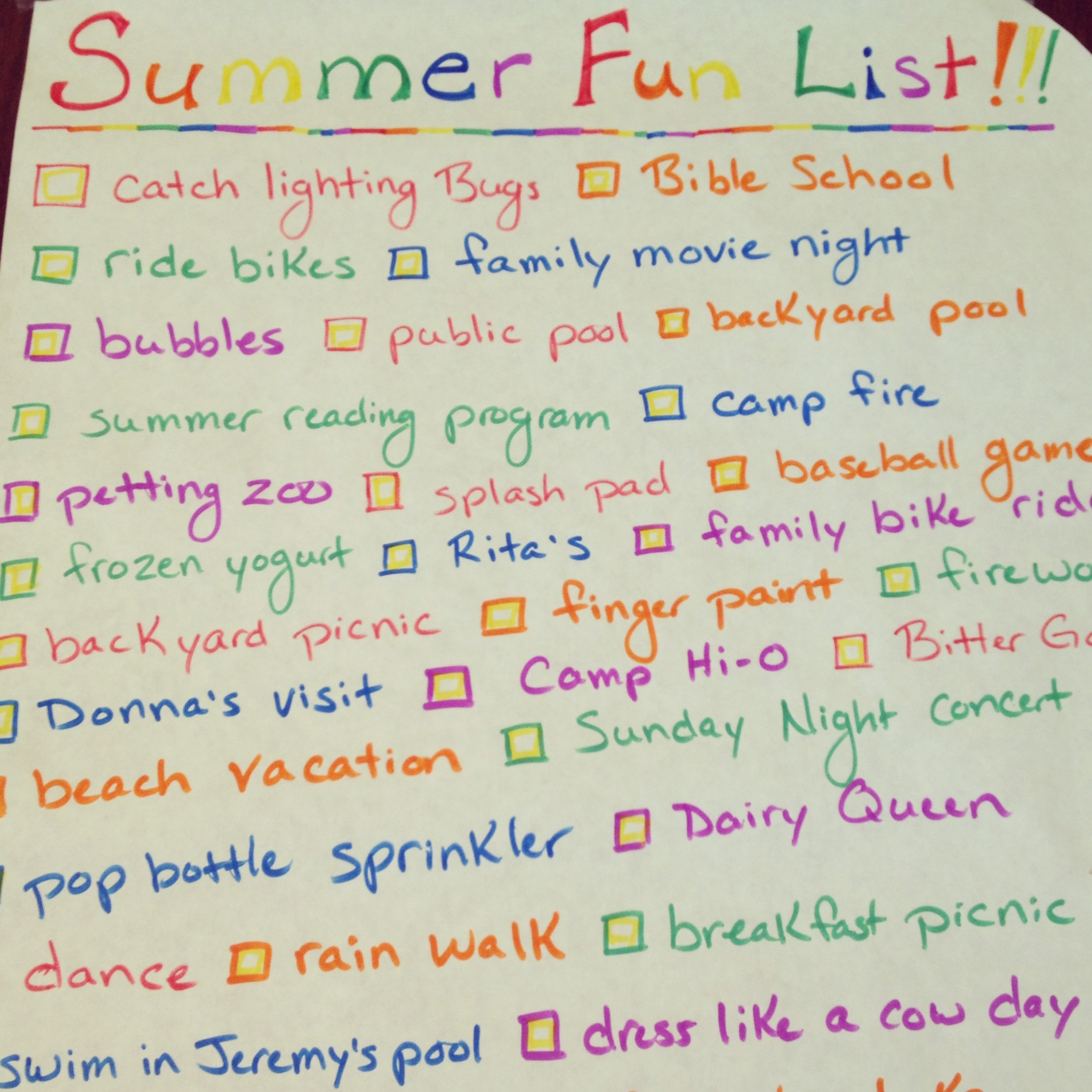 Tips & Inspiration for Creating a Summer Fun List