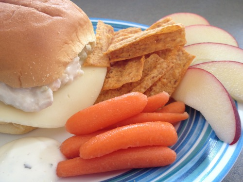chicken salad, carrots, and apples