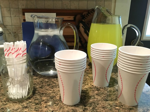 simple baseball party cups and forks