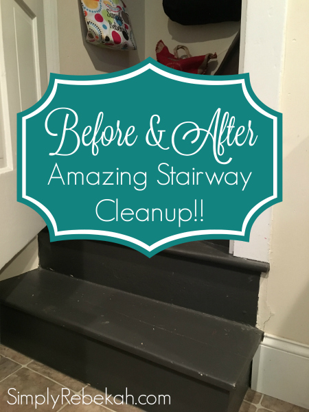 I love seeing before and after photos when people declutter! This woman did a great job on her stairway cleanup.