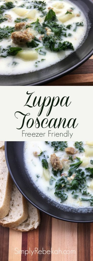 A freezer friendly version of Olive Garden's zuppa toscana soup!