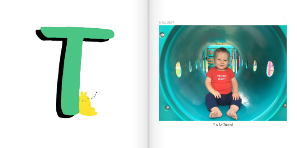 T is for Tunnel - How to Make a Personalized ABC Photo Book