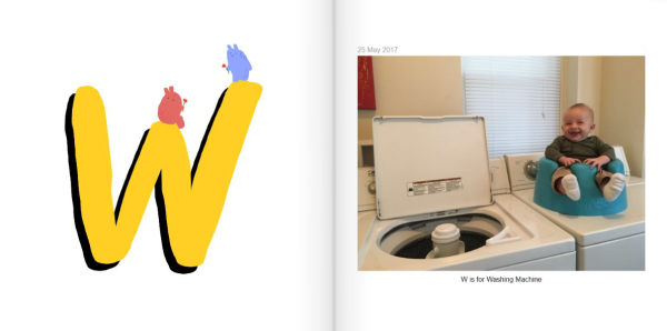 W is for Washing Machine - How to Make a Personalized ABC Photo Book