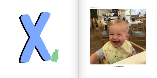 X is for eXcited - How to Make a Personalized ABC Photo Book